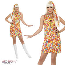 FANCY DRESS COSTUME LADIES 1960s 70s FLOWER HIPPY RETRO CHILD LARGE 16 18