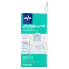 Disposable Plastic Bathtub Liners by Medline Commode Liner With Absorbent Pad 12 Count Walmart Com