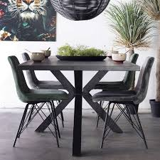 industrie esstisch 200 x 100 cm akazie metall schwarz