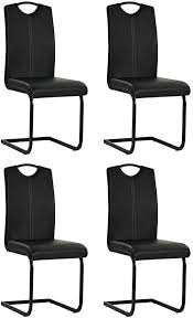 festnight esszimmerstühle 4 stk kunstlederstuhl 4er set freischwinger stühle esszimmer schwingstuhl modern essstuhl küchenstuhl schwarz