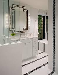 Bathroom Mosaic Mirror Tiles by White Bathroom Vanity With Black Mirror Contemporary Bathroom