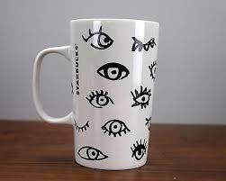 Starbucks Abstract Eyes Coffee Mug 2014 16oz Cup Black White Green