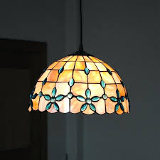 Stained Glass Hanging Light Fixtures New Shell Pendant Lamp Retro Dining Room