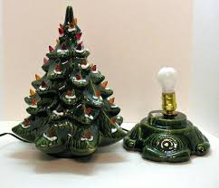 Tiny Light Up Christmas Tree Small Vintage Ceramic Base Faux Plastic Lights Very