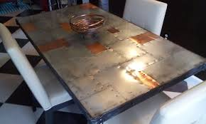 Copper Zinc Dining Table Rustic And Modern Riveted
