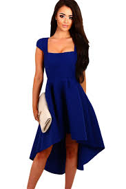 online get cheap royal blue high low dress with sleeves