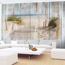 fototapeten 396 x 280 cm strand holzoptik vlies wanddekoration wohnzimmer schlafzimmer deutsche manufaktur blau braun 9111012a