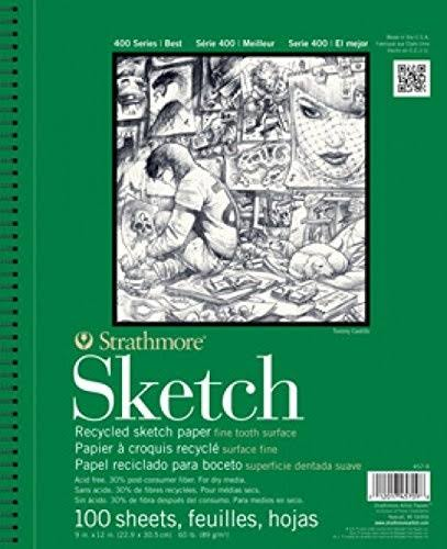 Strathmore 400 Series Recycled Sketch Pads - 3.5'' x 5'', Wire Bound, 100 Sheets