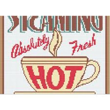 Steaming Hot Coffee Retro Kitchen Sign Counted Cross Stitch Pattern 50s Signs C