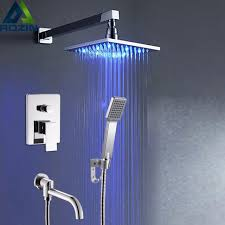 modern wall mounted bathroom square led light shower mixer