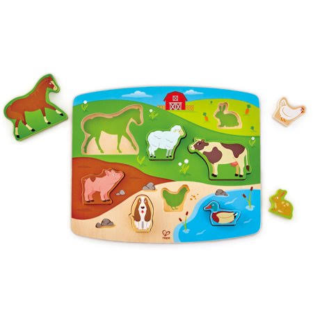 Hape HAPE1454 Farm Animal Puzzle and Play Toy - 9pcs