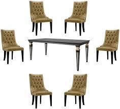 casa padrino luxus barock esszimmer set gold schwarz silber 1 esszimmertisch 6 esszimmerstühle esszimmermöbel im barockstil luxus qualität