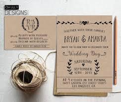 Rustic Wedding Invitation Printable Kraft Paper Digita File RSVP Card Minimalist Invite
