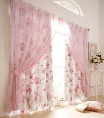 Pink Ruffled Window Curtains by Cream 96
