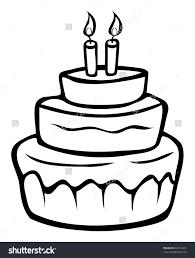 cartoon birthday cake outline clipart