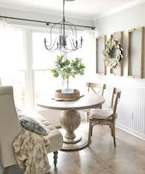 Home Tour Farmhouse Style Breakfast Nook With Drying Rack Wall Decor Round Dining Table