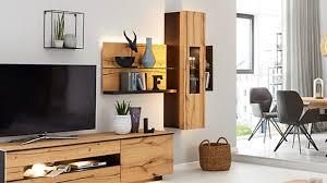 interliving wohnzimmer serie 2103 regal mit vitrine schieferschwarzer lack asteiche ca 165 x 62 cm