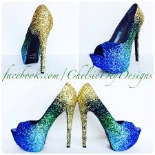 peacock glitter high heels ombre peep toe pumps green gold
