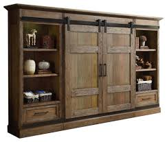 Parker House Hunts Point Vintage Style Weathered Pine Sliding In Entertainment Center With Doors Design 2