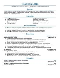 Human Resources Manager Resume Example