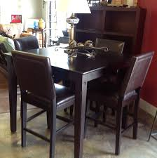 High-top Table With 4 Leather Chairs.   High Top Table ... Kitchen Design Counter Height Ding Room Table Tall High Hightop Table With 4 Leather Chairs Top Hanover Monaco 7piece Alinum Outdoor Set Round Tiletop And Contoured Sling Swivel Chairs High Kitchen Set Replacement Scenic Top Wning Amazing For Sets Marble Square And Glass Small Pub Style Island Home Design Ideas Black Cocktail Low Tables Astonishing Rooms Modern Wood Dark 2