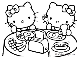 Hello Kitty Lunch Coloring Pages