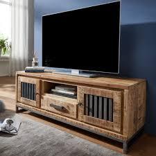 hifi lowboard 133 x 50 x 45 cm mango massivholz metall vintage tv kommode fernsehschrank mit 2 türen fernsehkommode mit schublade tv board