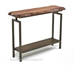 Modern Industrial Sofa Table Metal Console Natural Walnut