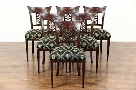 Set 6 French Empire 1820s Antique Dining Chairs New Upholstery Signed Chapuis