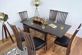 ahoc ausziehbarer esstisch und 6 stühle set massiv holz