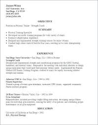 Sample Personal Resume Trainer Example