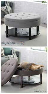 Living Room Storage Cube Ottoman With Tray Round Storage Stool