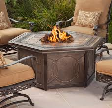 Agio Patio Furniture Cushions by Agio Ashmost Hexagonal Cast Aluminum Outdoor Firepit Chat Table