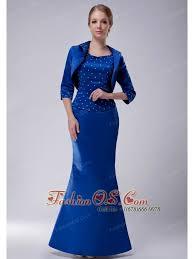 Pretty Royal Blue Column Scoop Mother Of The Bride Dress Taffeta Beading Floor Length