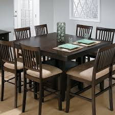 Furniture Black Wooden Counter Height Dining Table With Bench Using Back And Cream Velvet Seat