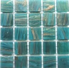 20mm 3 4 teal and gold streaked semi translucent glass mosaic