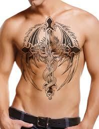 Dragon Cross Tattoo On Guys Chest