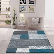 designer moderner wohnzimmerteppich in türkis grau und weiß mit kachel optik kurzflor