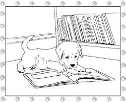 Dog Reading A Book Coloring Page