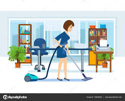 le de bureau fille fille employés du bureau nettoyer le meuble image vectorielle