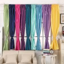9 farben fenster vorhang semi blackout solide satin stoff für home dekoration wohnzimmer gardinen stange tasche