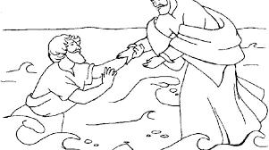 Peter Tries Walk Water Jesus Helps Coloring