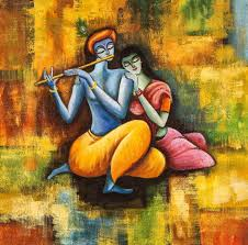 100 Krisana Radha Krishna Love Forever Handpainted Art Painting 26in X 26in