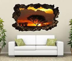 3d wandtattoo afrika savanne elefanten safari baum selbstklebend wandbild wohnzimmer wand aufkleber 11l2076