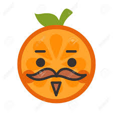 Gentleman Smile Emoji Smiley Orange Fruit With Mustache And Monocle Vector Flat Design