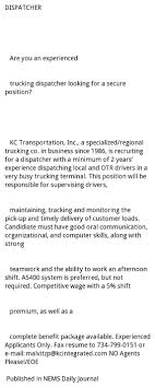 Dispatcher, Kc Integrated Trucking Dispatcher Best Image Truck Kusaboshicom Infographic 10 Amazing Facts About The Us Worlds Hardest Working Envoydispatch Truckindustry Jobs Lsn Truck Dispatching Trucklsn Twitter The 101 For Dispatching Trucks Dr Dispatch Company Stock Photo 10153094 Alamy Leonor Romero Lm National Transportation Corp May Software Carriers Brokers Rollet Brothers Perryvillenewscom