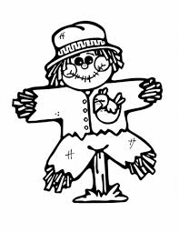 November Coloring Pages Cute Scarecrow