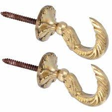Curtain Tie Hold Back Hooks Egyptian Solid Brass 45mm X 1 Pair