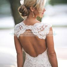 Pretty Floral Lace Rustic Wedding Dresses V Neck Cap Sleeve Country Style Dress Backless Vestido De Novia YY393 In From