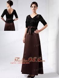 Elegant Brown Mother Of The Bride Dress Column V Neck Beading Ankle Length Satin
